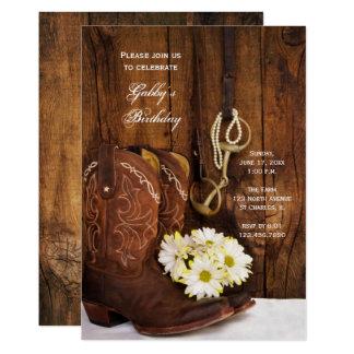 Carte Bottes de cowboy et fête d'anniversaire de pays de