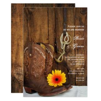 Carte Bottes de cowboy, marguerite et mariage occidental
