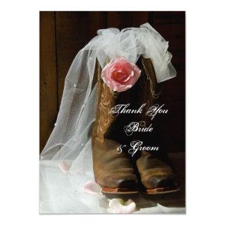 Carte Bottes de cowboy roses de pays épousant des notes