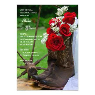 Carte Bottes de cowboy rustiques de roses épousant le