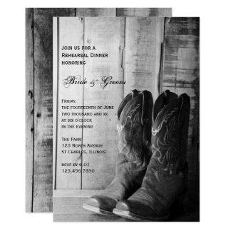 Carte Bottes de cowboy rustiques épousant le dîner de