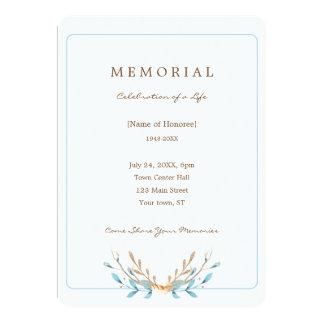 Carte Bouquet élégant d'invitation de mémorial de