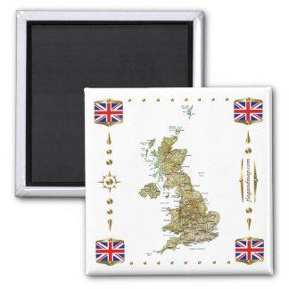 Carte BRITANNIQUE + Aimant de drapeaux