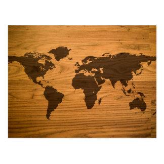 Carte brûlée par bois du monde