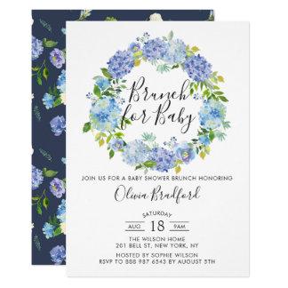 Carte Brunch bleu de baby shower d'hortensias