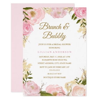 Carte Brunch élégant de rose de rose et douche nuptiale