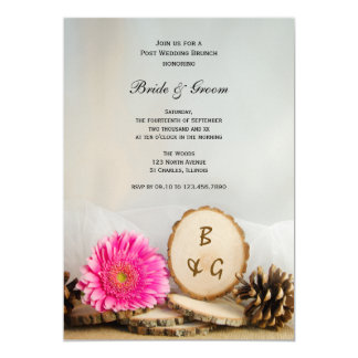 Carte Brunch en bois naturel de mariage de courrier de