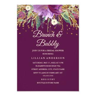 Carte Brunch floral d'améthyste de parties scintillantes