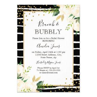 Carte Brunch floral de rayure noire d'or et douche