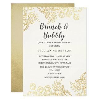 Carte Brunch floral d'or élégant et pétillant vintages