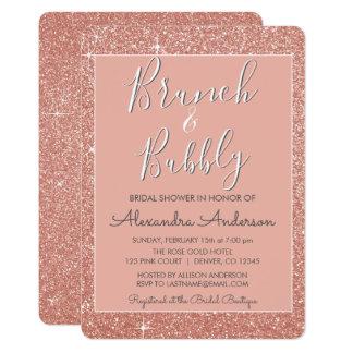 Carte Brunch rose d'or et douche nuptiale pétillante