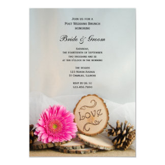 Carte Brunch rose rustique de mariage de courrier de
