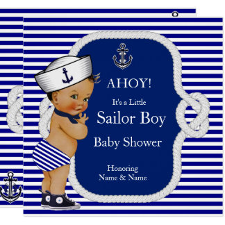 Carte Brune de rayure bleue de garçon de marin de baby