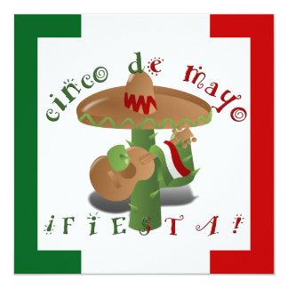 Carte Cactus de fiesta avec des poivrons de guitare et
