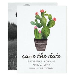Carte Cactus floral rose - faites gagner la date