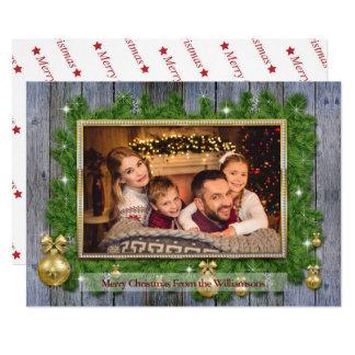 Carte Cadre d'or sur la photo en bois patinée de Noël de