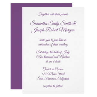 Carte Calligraphie pourpre violette
