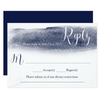 Carte Carte- de réponse de mariage d'aquarelle de bleu