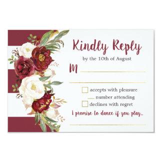 Carte Carte- de réponse florale rayée de mariage de
