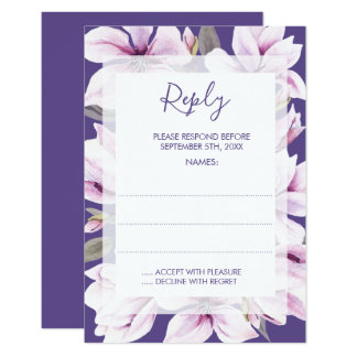Carte Cartes- de réponse florales violettes de mariage
