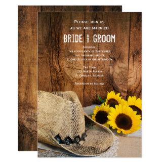 Carte Casquette de cowboy, mariage campagnard en bois de