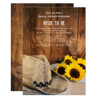 Carte Casquette de cowboy, tournesols et douche nuptiale