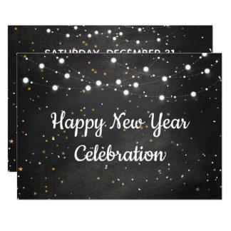 Carte Célébration de bonne année avec des lumières de