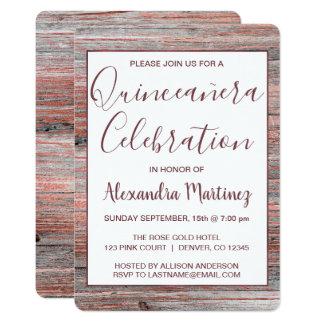 Carte Célébration du bois rustique de Quinceanera d'or