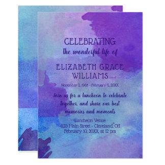 Carte Célébration pourpre et bleue de la vie d'aquarelle