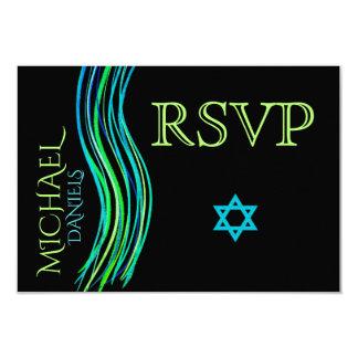 Carte Châle de prière vert de Mitzvah de barre RSVP
