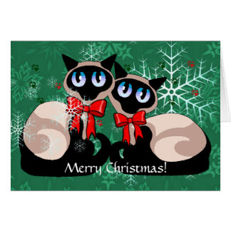 Carte - chats siamois de Noël