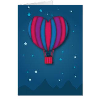 Carte chaude de Saint-Valentin de ballon à air de