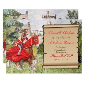 Carte Chevaux joutants d'invitation médiévale de banquet