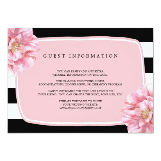 Carte chic florale/rose d'insertion de mariage carton d'invitation  11,43 cm x 15,87 cm