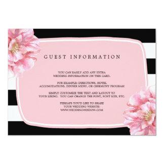 Carte chic florale/rose d'insertion de mariage carton d'invitation  11,43 cm x 15,87 cm
