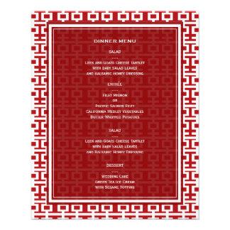 Carte chinoise de menu de mariage de double prospectus 11,4 cm x 14,2 cm