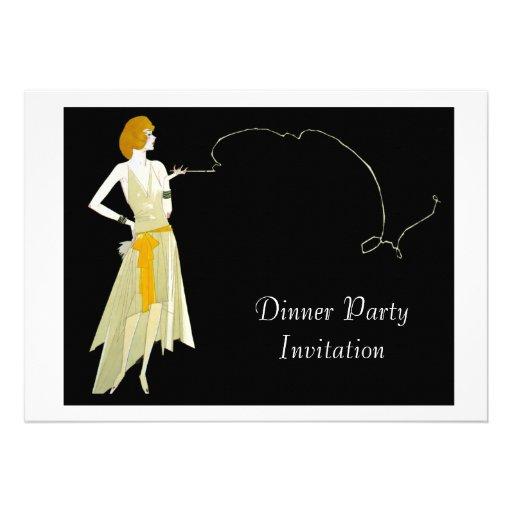 Carte chique d'invitation de dîner de soirée