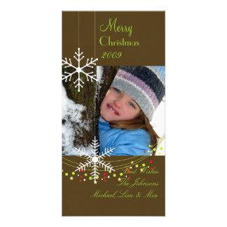 Carte Chocolat foncé de ~ de flocons de neige, Noël vert
