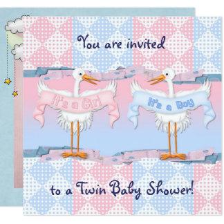 Carte Cigognes jumelles pour le baby shower