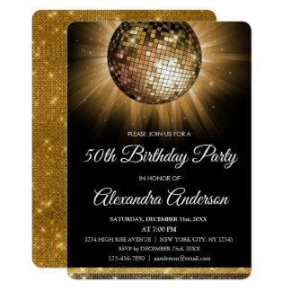 Carte Cinquantième boule de disco d'or de fête