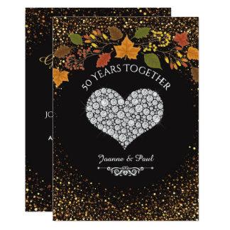 Carte cinquantième Coeur de célébration d'automne