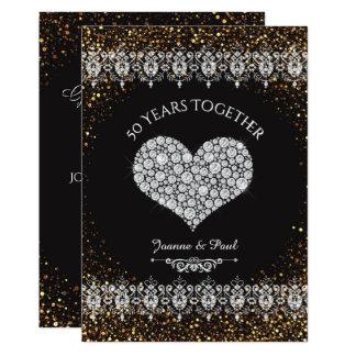 Carte cinquantième Coeur de diamant de célébration