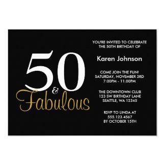 Carte Cinquantième fête d'anniversaire fabuleuse de noir