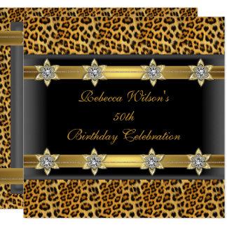 Carte Cinquantième noir élégant d'or de fête