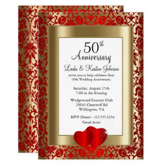 Carte cinquantième Texte d'or et rouge de l'anniversaire