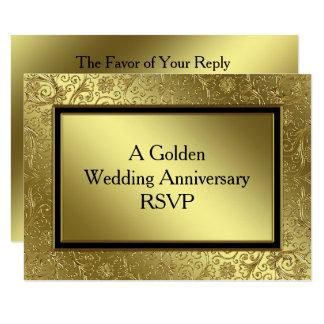Carte classique de l'anniversaire de mariage d'or carton d'invitation 8,89 cm x 12,70 cm