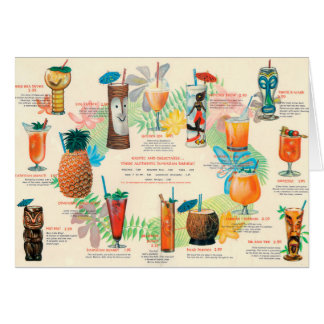 Carte classique de menu de cocktail de Tiki