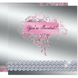Carte Clouez le scintillement rose élégant Bling de