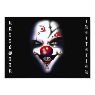 Carte clown effrayant d'invitation de Halloween