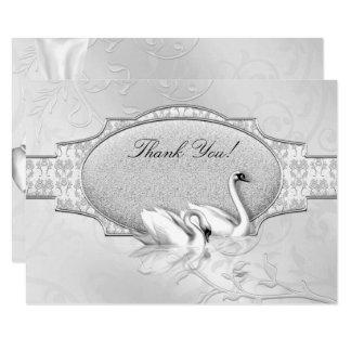 Carte Coeur blanc de cygnes d'argent élégant de mariage